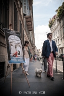 """Milan """"Cortili Aperti"""" - discovering private courtyards in Brera, Milan, People walking in Brera during the event."""